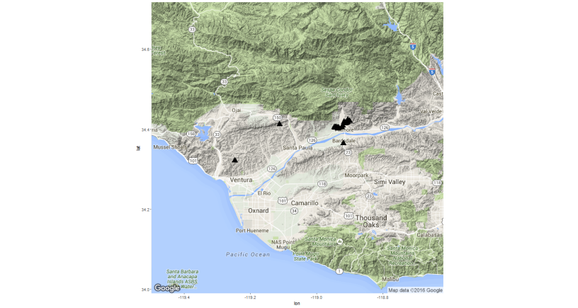 Basic mapping & spatial stats with R: ggmap & ape – The Samuelson
